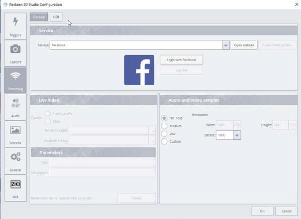 Facebook streaming in Settings tab